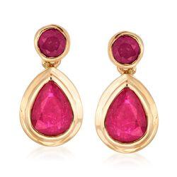 2.80 ct. t.w. Ruby Drop Earrings in 14kt Yellow Gold, , default