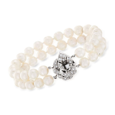 C. 1960 Vintage 7.5mm Cultured Pearl and .65 ct. t.w. Diamond Double-Row Bracelet in 14kt White Gold, , default
