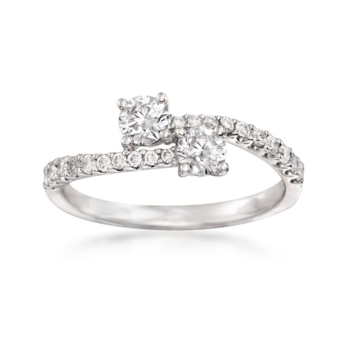 .75 ct. t.w. Diamond Two-Stone Ring in 14kt White Gold, , default