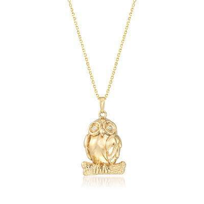 14kt Yellow Gold Owl Pendant Necklace, , default