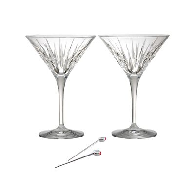 "Reed & Barton ""Soho"" Set of Two Martini Glasses with Olive Picks, , default"