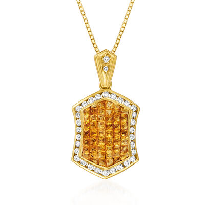C. 1980 Vintage 4.74 ct. t.w. Yellow Sapphire and .68 ct. t.w. Diamond Pendant Necklace in 18kt Yellow Gold