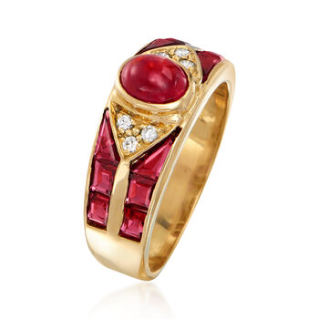C. 1990 Vintage 1.75 ct. t.w. Ruby Ring with Diamond Accents in 18kt Yellow Gold. Size 5.75, , default