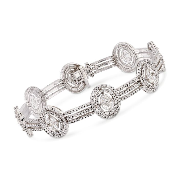 "4.98 ct. t.w. Diamond Oval Cluster Bracelet in 14kt White Gold. 7"", , default"