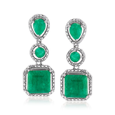 7.30 ct. t.w. Emerald Drop Earrings in Sterling Silver