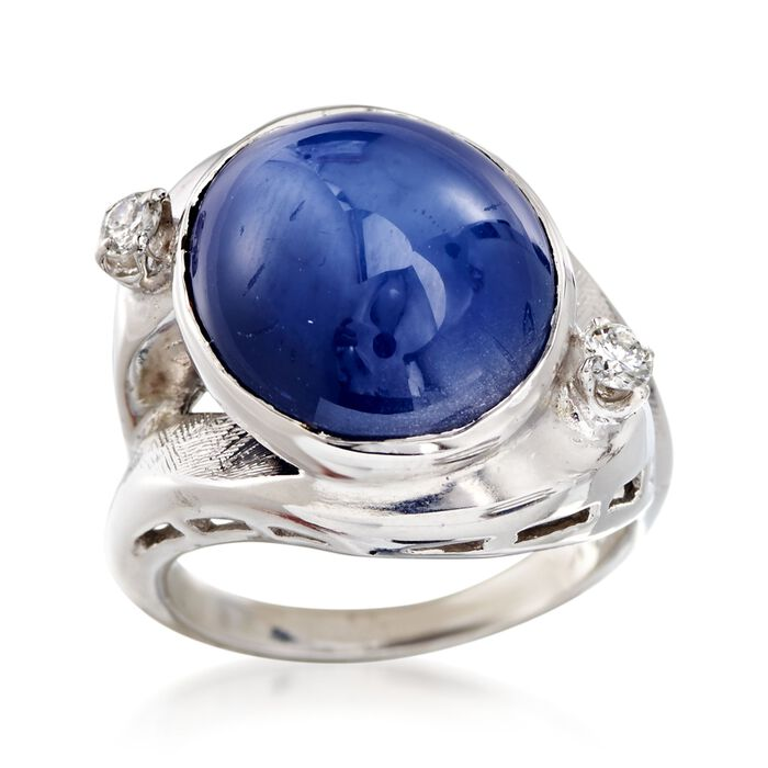 C. 1970 Vintage Sapphire and .15 ct. t.w. Diamond Ring in 14kt White Gold. Size 6, , default
