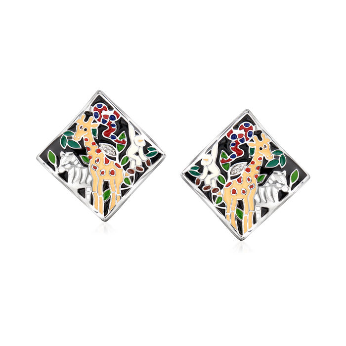 """Belle Etoile """"Serengeti"""" Black and Multicolored Enamel Earrings with CZ Accents in Sterling Silver, , default"""