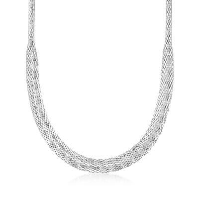 Italian Sterling Silver Tapered Mesh Necklace, , default