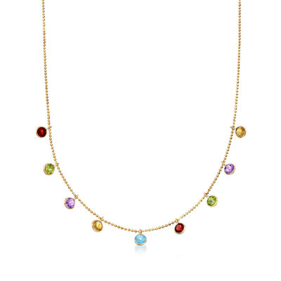 2.70 ct. t.w. Multi-Stone Station Necklace in 14kt Yellow Gold, , default