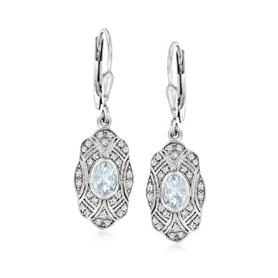 .60 ct. t.w. Aquamarine and .20 ct. t.w. White Topaz Drop Earrings in Sterling Silver