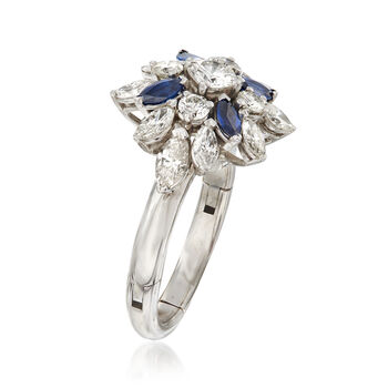 C. 1970 Vintage 2.00 ct. t.w. Diamond and .80 ct. t.w. Sapphire Cluster Ring in 14kt White Gold. Size 7.5