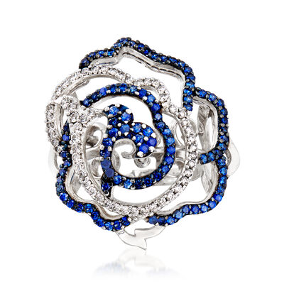C. 1990 Vintage Piero Milano 2.00 ct. t.w. Sapphire and .45 ct. t.w. Diamond Flower Ring in 18kt White Gold, , default