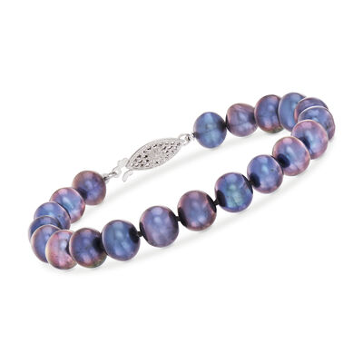 7-8mm Cultured Pearl Bracelet in 14kt White Gold, , default
