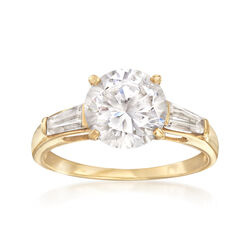 C. 1990 Vintage 3.10 ct. t.w. CZ Ring in 14kt Yellow Gold, , default