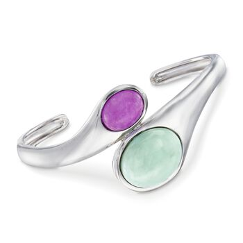 "10-19mm Green and Purple Jade Bypass Cuff Bracelet in Sterling Silver. 8"", , default"