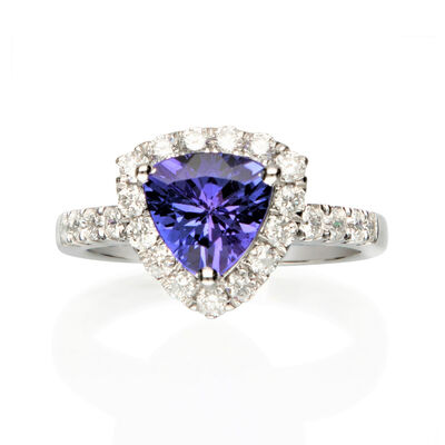 1.70 Carat Tanzanite and .69 ct. t.w. Diamond Ring in 14kt White Gold