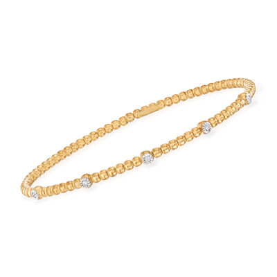 "Phillip Gavriel ""Popcorn"" Beaded Cuff Bracelet with Diamond Accents in 14kt Yellow Gold"