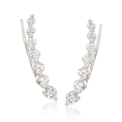 1.90 ct. t.w. Graduated CZ Ear Crawlers in Sterling Silver