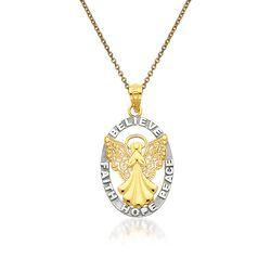 "14kt Yellow Gold Religious Pendant Necklace. 18"", , default"