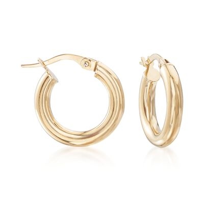Italian 3mm 18kt Yellow Gold Hoop Earrings, , default