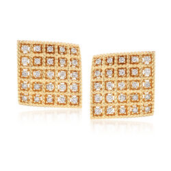 "Roberto Coin ""Byzantine Barocco"" .87 ct. t.w. Diamond Square Earrings in 18kt Yellow Gold, , default"