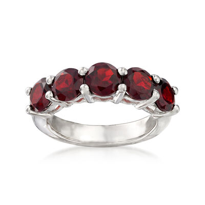 3.50 ct. t.w. Garnet Five-Stone Ring in Sterling Silver, , default