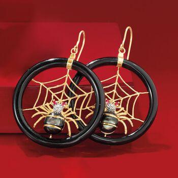 Multi-Stone Spiderweb Drop Earrings in 14kt Yellow Gold, , default
