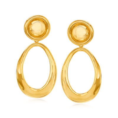 Italian 14kt Yellow Gold Removable Oval Drop Earrings