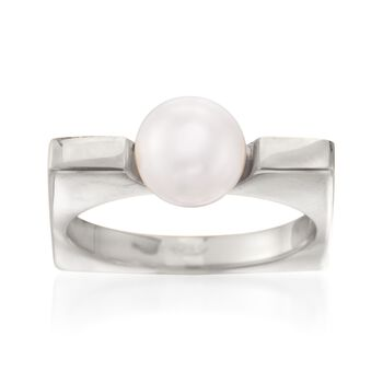 Italian 8mm Cultured Pearl Squared Ring in Sterling Silver, , default