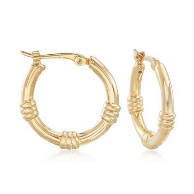 14kt Yellow Gold Station Hoop Earrings, , default