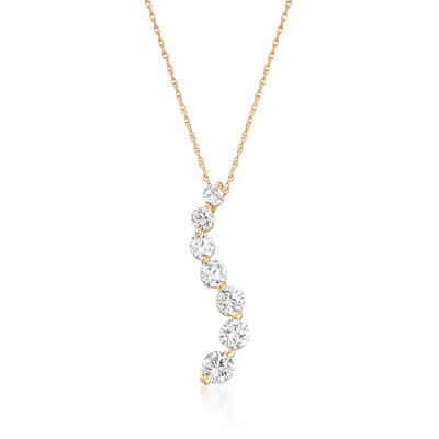 1.50 ct. t.w. CZ Graduated Pendant Necklace in 14kt Yellow Gold, , default