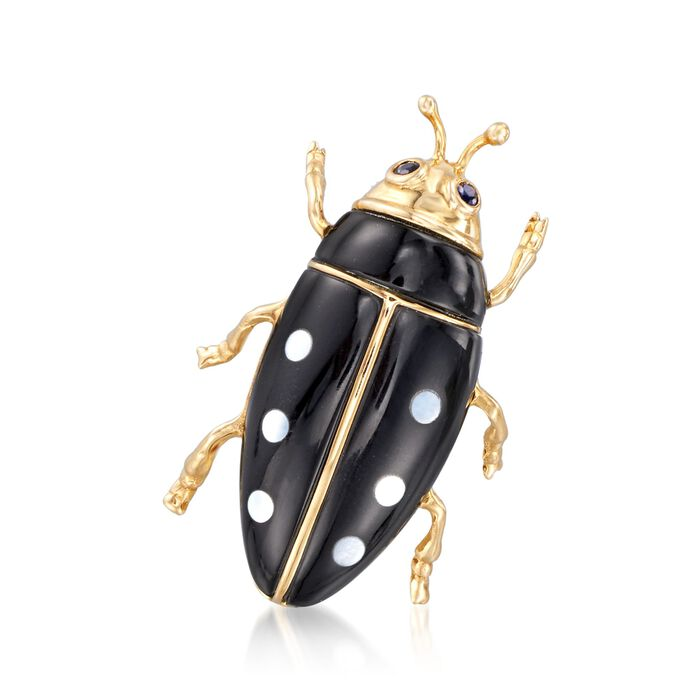Black Agate Beetle Pin with .10 ct. t.w. Sapphires and Mother-Of-Pearl in 14kt Yellow Gold , , default