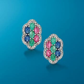 3.20 ct. t.w. Multi-Stone Floral Earrings With .44 ct. t.w. Diamonds in Sterling Silver , , default