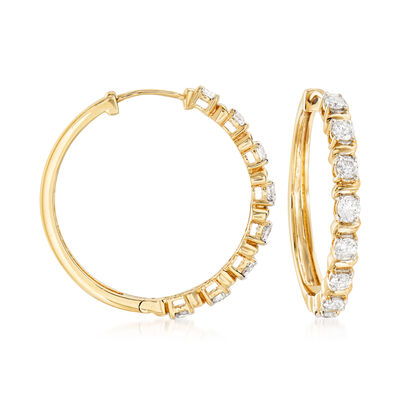 1.00 ct. t.w. Diamond Hoop Earrings in 14kt Yellow Gold