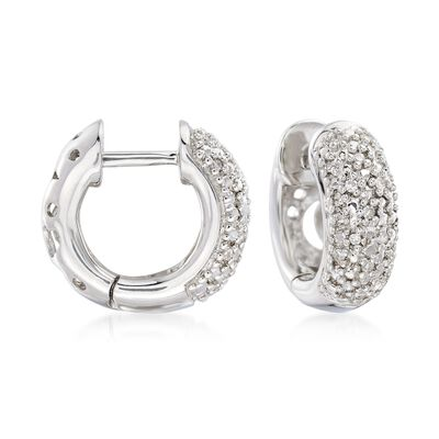 .10 ct. t.w. Diamond Huggie Hoop Earrings in Sterling Silver, , default