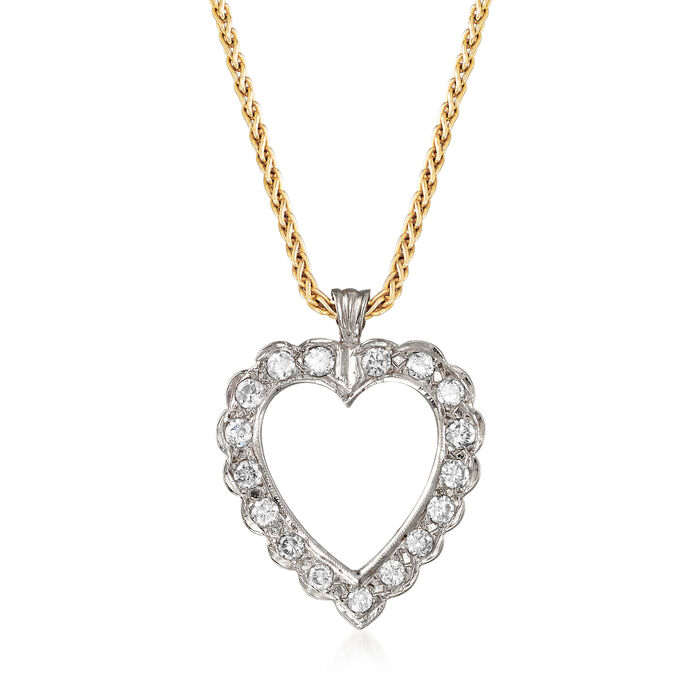 C. 1990 Vintage 1.00 ct. t.w. Diamond Heart Necklace in 14kt Two-Tone Gold. 16.5""