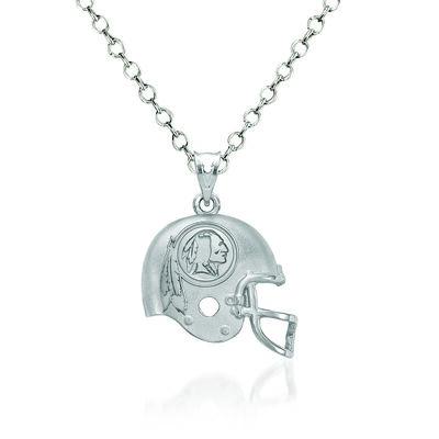 """Sterling Silver Washington Redskins Football Helmet Logo Pendant Necklace. 18"""", , default"""