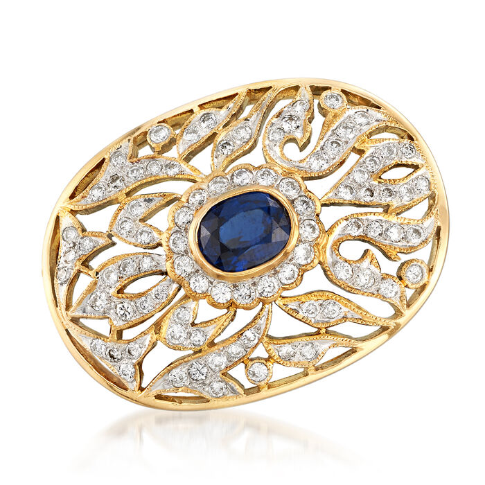 C. 1980 Vintage 1.40 Carat Sapphire and 1.05 ct. t.w. Diamond Pin Pendant in 18kt Yellow Gold