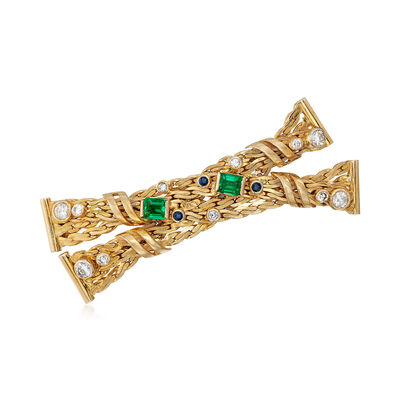C. 1980 Vintage .90 ct. t.w. Emerald and 1.10 ct. t.w. Diamond Crisscross Bar Pin With Sapphires in 12kt Gold, , default