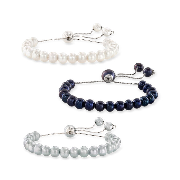 Sterling Silver Jewelry Set: Multicolored 6-7mm Cultured Pearl Bolo Bracelets
