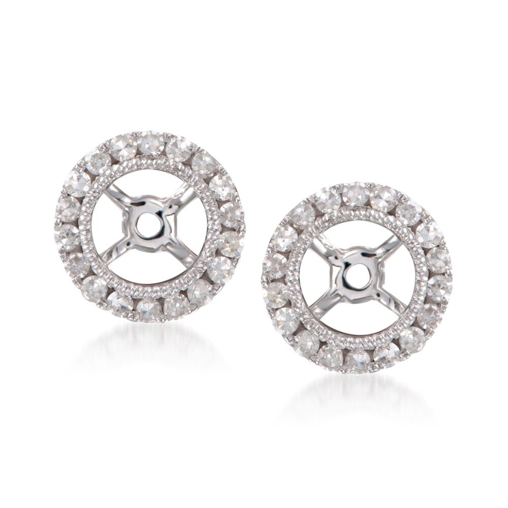 T W Diamond Earring Jackets In 14kt White Gold Default