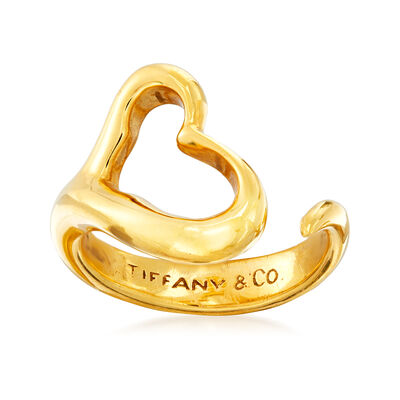 "C. 1980 Vintage Tiffany Jewelry ""Elsa Peretti"" 18kt Yellow Gold Heart Ring, , default"