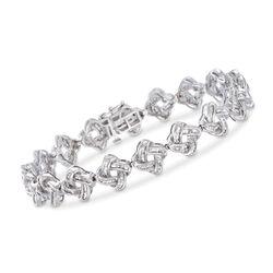 """2.00 ct. t.w. Baguette Diamond Knot Bracelet in Sterling Silver. 7"""", , default"""