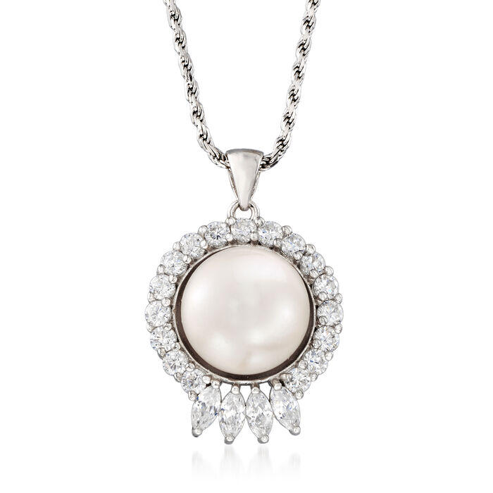 12-13mm Cultured Pearl and 1.20 ct. t.w. CZ Pendant Necklace in Sterling Silver