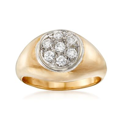 C. 1970 Vintage .50 ct. t.w. Diamond Cluster Ring in 14kt Yellow Gold, , default