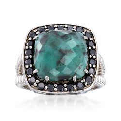 6.25 Carat Opaque Emerald and .90 ct. t.w. Black Spinel Ring in Sterling Silver, , default