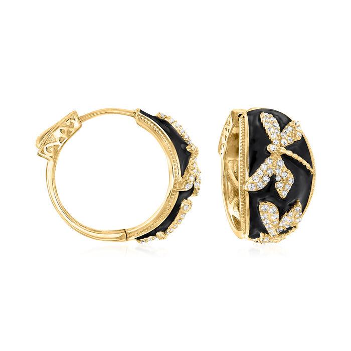 .80 ct. t.w. White Topaz and Black Enamel Dragonfly Hoop Earrings in 18kt Gold Over Sterling