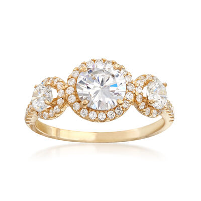 1.80 ct. t.w. CZ Three-Stone Halo Ring in 14kt Yellow Gold, , default