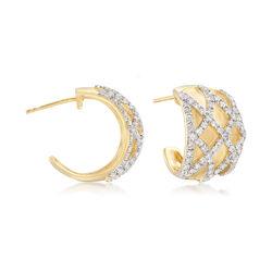 1.80 ct. t.w. White Topaz Crisscross Earrings in 18kt Gold Over Sterling, , default