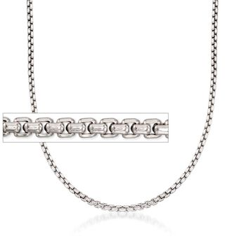 "2.5mm Sterling Silver Rounded Box Chain Necklace. 20"", , default"